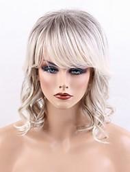 cheap -Human Hair Blend Wig Deep Wave Layered Haircut With Bangs Deep Wave Highlighted / Balayage Hair Side Part Machine Made Black / Grey 14 inch