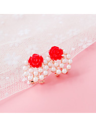 cheap -Women's Stud Earrings Clip on Earring Imitation Pearl Rhinestone Earrings Jewelry Light Yellow / Red / Pink For Daily Casual
