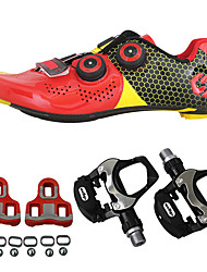 cheap -SIDEBIKE Cycling Shoes With Pedals & Cleats Road Bike Shoes Carbon Fiber Anti-Slip Cycling Black / Red Green / Black Men's Women's Cycling Shoes / Synthetic Microfiber PU
