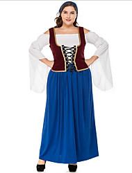 cheap -Oktoberfest Beer Dirndl Trachtenkleider Women's Dress Shorts Bavarian Costume Ink Blue