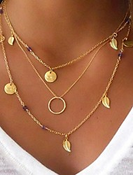 cheap -Pendant Necklace Layered Necklace Women's Layered Leaf Casual Multi Layer Gold Silver Necklace Jewelry 1pc for Party Gift Circle