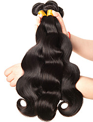 cheap -3 Bundles Brazilian Hair Body Wave Virgin Human Hair 300 g Natural Color Hair Weaves / Hair Bulk 8-28 inch Human Hair Weaves Human Hair Extensions / 10A / Normally they are enough for a full head.