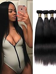 Недорогие -4 Связки Малазийские волосы Прямой Натуральные волосы Человека ткет Волосы Ткет человеческих волос Расширения человеческих волос / 8A / Прямой силуэт