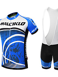 cheap -Malciklo Men's Short Sleeve Cycling Jersey with Bib Shorts Black Purple Orange Dot Bike Clothing Suit Breathable 3D Pad Quick Dry Back Pocket Sports Coolmax® Lycra Dot Mountain Bike MTB Road Bike