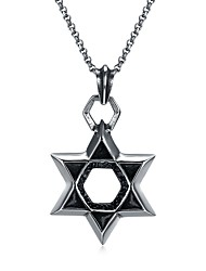 cheap -Men's Pendant Necklace Star Pentagram Basic Cartoon scottish Stainless Steel Metal Silver Necklace Jewelry One-piece Suit For Formal New Year