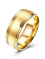 cheap -Men's Band Ring Gold Stainless Steel Titanium Steel Circle Fashion Dubai Wedding Gift Jewelry
