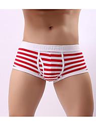 cheap -Men's Sexy Boxers Underwear Striped Low Waist Black Purple Orange S M L