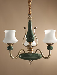 cheap -ZHISHU 3-Light Candle-style Chandelier Uplight Brass Metal Glass Mini Style 110-120V / 220-240V Bulb Included / E26 / E27