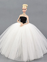 cheap -Doll Dress Party / Evening For Barbiedoll Lines / Waves Multi Color White / Black Tulle Lace Cotton Blend Dress For Girl's Doll Toy