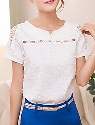 cheap -Women's Daily Going out Street chic Cotton Slim T-shirt - Solid Colored Cut Out V Neck White / Spring / Summer