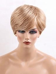 cheap -Human Hair Capless Wigs Human Hair Natural Wave Layered Haircut Side Part Machine Made Wig