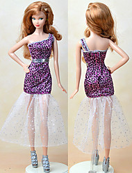 cheap -Doll Dress Dresses For Barbiedoll Fashion Purple Textile Elastic Satin Poly / Cotton Dress For Girl's Doll Toy