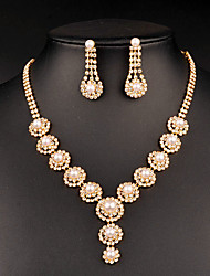 cheap -Women's Cubic Zirconia Jewelry Set Drop Earrings Choker Necklace Drop Classic Vintage Elegant Pearl Imitation Diamond Austria Crystal Earrings Jewelry Gold For Wedding Party Engagement