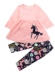 cheap -Toddler Girls' Casual Daily Holiday Unicorn Floral Print Animal Ruched Modern Style Cartoon Long Sleeve Long Long Cotton Clothing Set Blushing Pink / Cute