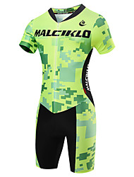 cheap -Malciklo Men's Short Sleeve Triathlon Tri Suit Yellow Red Light Green British Bike Breathable Quick Dry Sports Geometic Triathlon Clothing Apparel / High Elasticity / Athleisure / Advanced