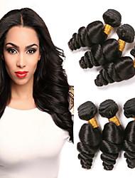cheap -6 Bundles Brazilian Hair Loose Wave Virgin Human Hair Natural Color Hair Weaves Human Hair Weaves Human Hair Extensions Women's