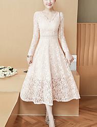 cheap -Women's Lace Daily Work Boho Slim Sheath Dress - Solid Color Lace V Neck Spring White Black Beige L XL XXL