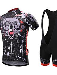 cheap -Malciklo Men's Short Sleeve Cycling Jersey with Bib Shorts White Black Bike Clothing Suit Breathable 3D Pad Quick Dry Back Pocket Sports Coolmax® Lycra Bear Mountain Bike MTB Road Bike Cycling