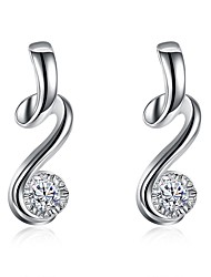 cheap -Women's Diamond Cubic Zirconia Hoop Earrings Ladies Fashion Silver Plated Earrings Jewelry Silver For Gift Daily
