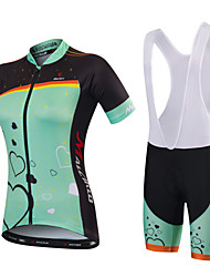 cheap -Malciklo Women's Short Sleeve Cycling Jersey with Shorts Mint Green Green / Black Floral Botanical Bike Jersey Bib Tights Padded Shorts / Chamois Breathable Quick Dry Anatomic Design Ultraviolet