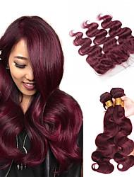 cheap -Brazilian Hair Body Wave Human Hair Natural Color Hair Weaves / Hair Bulk Hair Weft with Closure Human Hair Weaves Human Hair Extensions