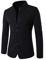 cheap -Men's Daily / Work Spring / Fall Regular Blazer, Solid Colored Shirt Collar / Stand Long Sleeve Cotton Black