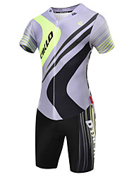 cheap -Malciklo Men's Short Sleeve Triathlon Tri Suit Coolmax® Lycra Gray Geometic British Bike Breathable Quick Dry Sports Geometic Triathlon Clothing Apparel / High Elasticity / Advanced / Advanced