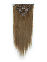 cheap -Clip In Human Hair Extensions 7Pcs/Pack 70g/pack Medium Brown/Strawberry Blonde Medium Brown/Bleach Blonde Golden Brown/Bleach Blonde