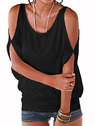 cheap -Women's Daily Going out Street chic Loose T-shirt - Solid Colored Cut Out Purple / Summer