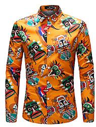 Недорогие -Муж. Радужный Рубашка Богемный Повседневные На выход Цвет радуги / Длинный рукав