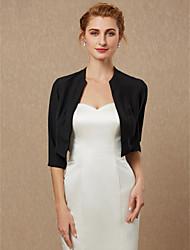 cheap -3/4 Length Sleeve Coats / Jackets Chiffon Wedding / Party / Evening Women's Wrap / Bolero With Draping / Solid
