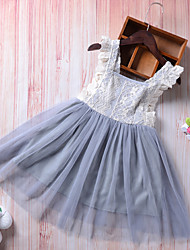 cheap -Toddler Girls' Boho Holiday Going out Solid Colored Patchwork Lace Backless Bow Sleeveless Dress Light gray / Cute