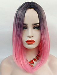 cheap -Synthetic Wig Straight Straight Wig Pink 13cm(Approx5inch) Black / Pink Synthetic Hair Ombre Hair Highlighted / Balayage Hair Middle Part Pink