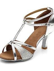 cheap -Women's Dance Shoes Faux Leather Latin Shoes Buckle / Paillette Sandal / Heel Chunky Heel Customizable Silver / EU40