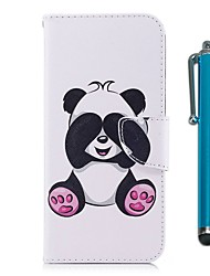 cheap -Case For LG LG K10 (2017) / LG K8 / LG K7 Wallet / Card Holder / with Stand Full Body Cases Panda Hard PU Leather