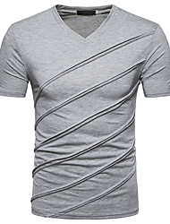cheap -Men's Graphic Solid Colored Slim T-shirt Basic Street chic Daily V Neck White / Black / Light gray / Dark Gray / Spring / Summer / Short Sleeve