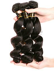Недорогие -3 Связки Бразильские волосы Свободные волны Натуральные волосы Человека ткет Волосы Ткет человеческих волос Расширения человеческих волос / 8A