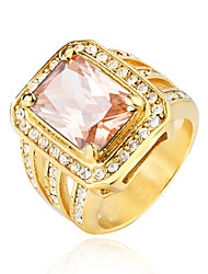 cheap -Men's Statement Ring Signet Ring White Red Champagne Acrylic Steel Stainless Geometric Hip Hop Wedding Party Jewelry Geometrical Solitaire Emerald Cut Cocktail Ring Cool