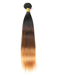 Недорогие -1 комплект Бразильские волосы Прямой Натуральные волосы Омбре 10-26 дюймовый Омбре Ткет человеческих волос Расширения человеческих волос / 8A / Прямой силуэт