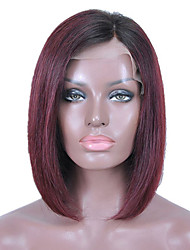 cheap -Remy Human Hair Glueless Lace Front Lace Front Wig Bob style Brazilian Hair Straight Wig 130% Density with Baby Hair Ombre Hair Natural Hairline African American Wig 100% Hand Tied Women's 10 inch 12