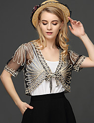 cheap -Women's Daily Work Active Wrap - Solid Colored Lace / Jacquard / Embroidered Deep V Beige / Summer / Fall / Lace up / Sheer