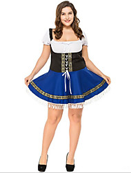 cheap -Halloween Oktoberfest Beer Dirndl Trachtenkleider Women's Dress Shorts Bavarian Costume Ink Blue