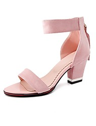 cheap -Women's Sandals Chunky Heel Open Toe Nubuck leather Comfort / Ankle Strap Summer Red / Green / Pink / Party & Evening / Party & Evening