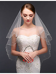 cheap -One-tier Modern Style / Wedding / Simple Style Wedding Veil Elbow Veils with Fringe / Splicing Lace / Tulle / Oval