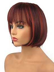 cheap -Synthetic Wig Straight Straight Bob Wig Medium Length Red Synthetic Hair Highlighted / Balayage Hair Red StrongBeauty