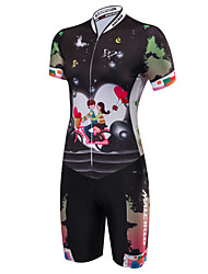cheap -Malciklo Women's Short Sleeve Triathlon Tri Suit Black Cartoon Bike Breathable Moisture Wicking Anatomic Design Reflective Strips Sports Polyester Spandex Coolmax® Cartoon Triathlon Clothing Apparel