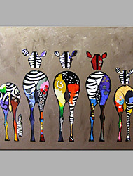 cheap -Oil Painting Handmade Hand Painted Wall Art Home Decoration Décor Living Room Bedroom Animal Colorful Zebra Rolled Canvas