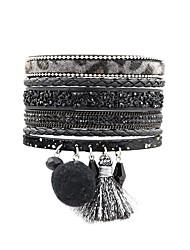 cheap -Women's Wrap Bracelet Tassel Bohemian Fashion Boho Leather Bracelet Jewelry Blue / Dark Red / Dark Gray For Daily Going out