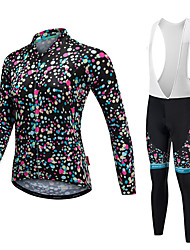 cheap -Malciklo Women's Long Sleeve Cycling Jersey with Bib Tights White Black Polka Dot Bike Clothing Suit Thermal / Warm Quick Dry Anatomic Design Reflective Strips Winter Sports Fleece Lycra Polka Dot