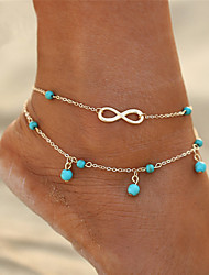 cheap -Anklet feet jewelry Ladies Double Layered Simple Women's Body Jewelry For Gift Going out Double Turquoise Alloy Infinity Gold Silver 1pc